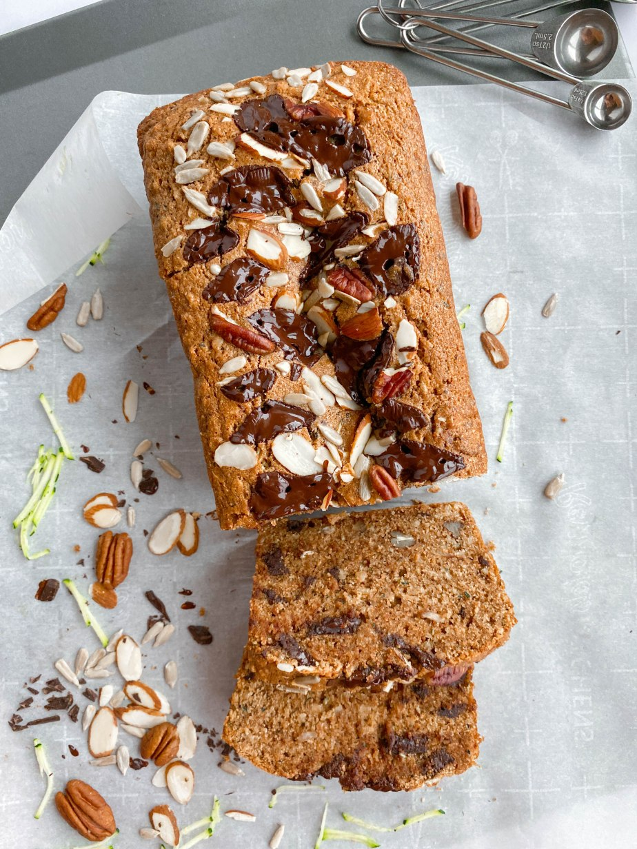 Whole Wheat Zucchini Bread   with Oats, Nuts and Seeds, and Dark Chocolate Chunks